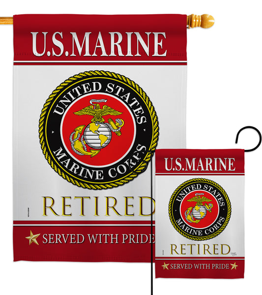 US Marine Retired - Military Americana Vertical Impressions Decorative Flags HG108479 Made In USA