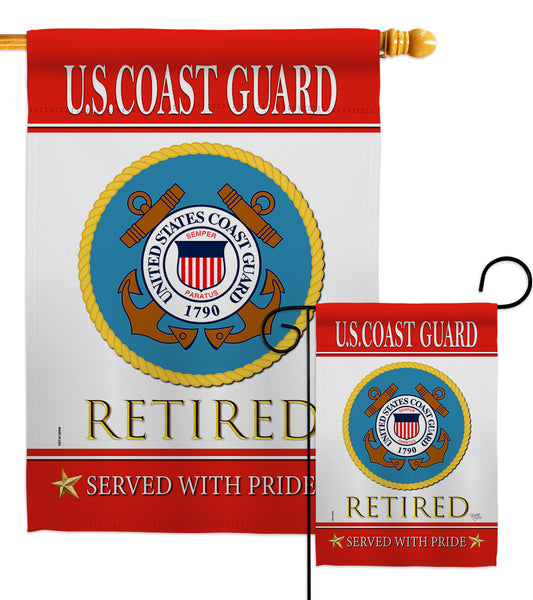 US Coast Guard Retired - Military Americana Vertical Impressions Decorative Flags HG108480 Made In USA