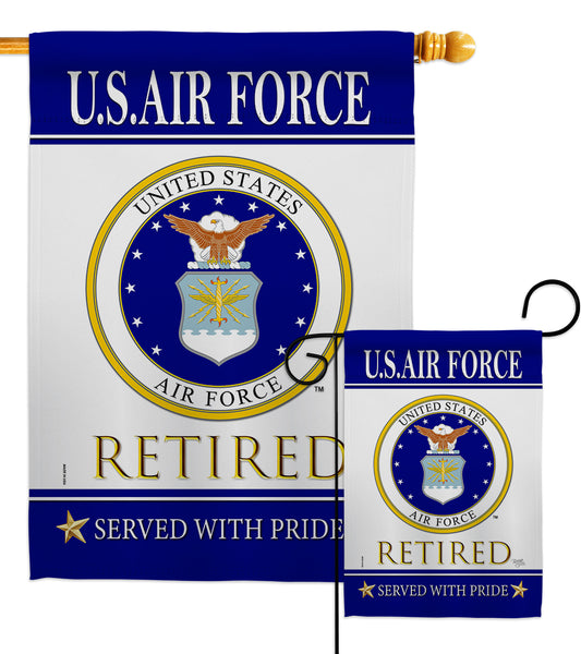 US Air Force Retired - Military Americana Vertical Impressions Decorative Flags HG108481 Made In USA