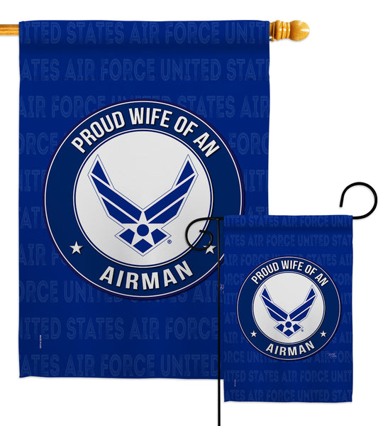 Proud Wife Airman - Military Americana Vertical Impressions Decorative Flags HG108604 Made In USA