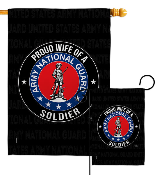 Army Proud Wife Soldier - Military Americana Vertical Impressions Decorative Flags HG108609 Made In USA