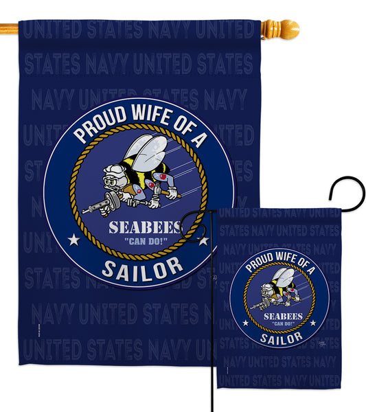 Seabees Proud Wife Sailor - Military Americana Vertical Impressions Decorative Flags HG108611 Made In USA