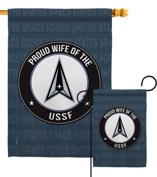 Proud Wife USSF - Military Americana Vertical Impressions Decorative Flags HG108612 Made In USA
