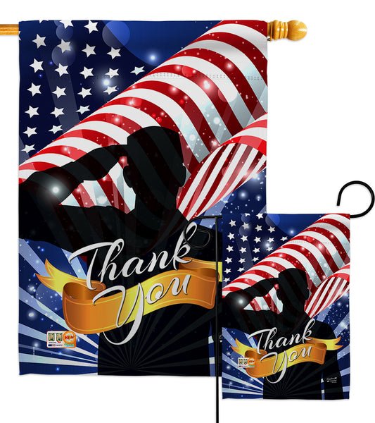 Thank You - Military Americana Vertical Impressions Decorative Flags HG137004 Made In USA
