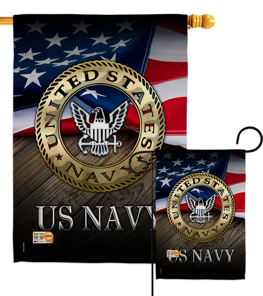 US Navy - Military Americana Vertical Impressions Decorative Flags HG137035 Made In USA