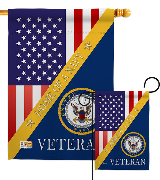 Home of Navy - Military Americana Vertical Impressions Decorative Flags HG140608 Made In USA