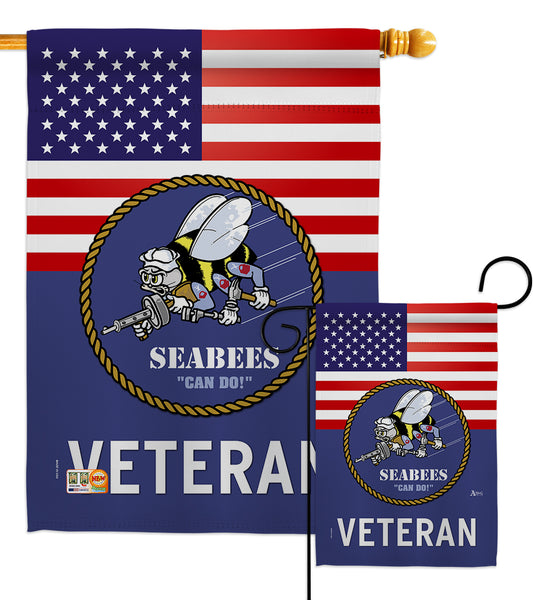 US Seabees Veteran - Military Americana Vertical Impressions Decorative Flags HG140613 Made In USA