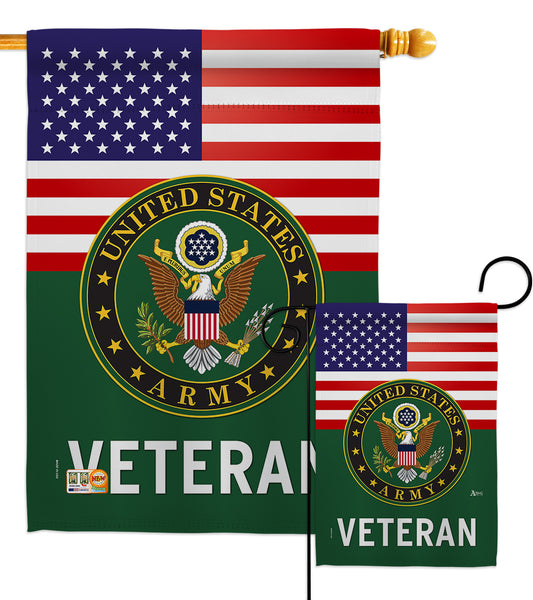 US Army Veteran - Military Americana Vertical Impressions Decorative Flags HG140615 Made In USA