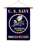 Sea Bees - Military Americana Vertical Impressions Decorative Flags HG108071 Made In USA