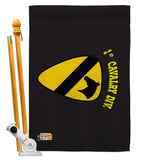 Black 1st Cavalry - Military Americana Vertical Impressions Decorative Flags HG140375 Made In USA