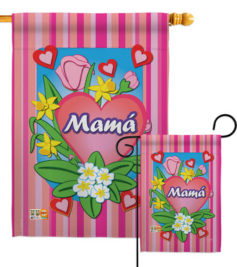 Mamá - Mother's Day Summer Vertical Impressions Decorative Flags HG115078S Made In USA