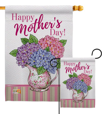 Mother Day Hydrangeas - Mother's Day Summer Vertical Impressions Decorative Flags HG115149 Made In USA