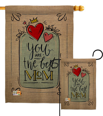 The Best Mom - Mother's Day Summer Vertical Impressions Decorative Flags HG137162 Made In USA