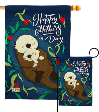 Otter Mother Day - Mother's Day Summer Vertical Impressions Decorative Flags HG137181 Made In USA