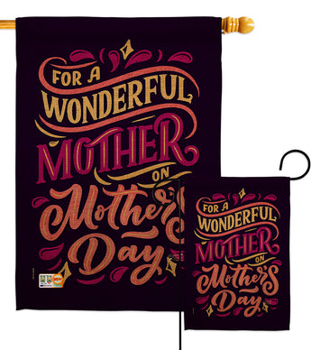 Wonderful Mother - Mother's Day Summer Vertical Impressions Decorative Flags HG137187 Made In USA