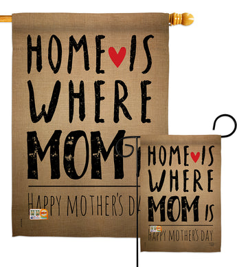 Home is Where Mom Is - Mother's Day Summer Vertical Impressions Decorative Flags HG192066 Made In USA