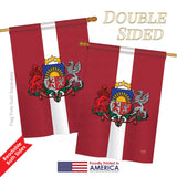 Latvia - Nationality Flags of the World Vertical Impressions Decorative Flags HG108201 Printed In USA