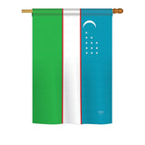 Uzbekistan - Nationality Flags of the World Vertical Impressions Decorative Flags HG108370 Printed In USA
