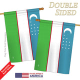 Uzbekistan - Nationality Flags of the World Vertical Impressions Decorative Flags HG140249 Printed In USA