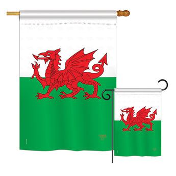 Wales - Nationality Flags of the World Vertical Impressions Decorative Flags HG108084 Printed In USA