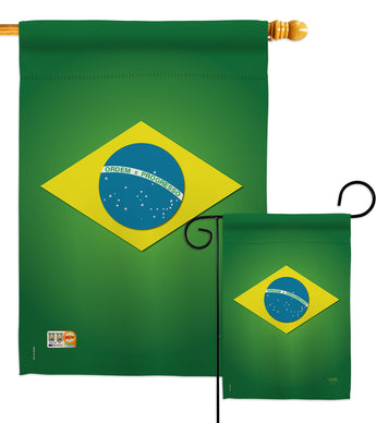 Brazil - Nationality Flags of the World Vertical Impressions Decorative Flags HG108090 Made In USA