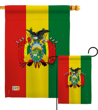 Bolivia - Nationality Flags of the World Vertical Impressions Decorative Flags HG108155 Made In USA