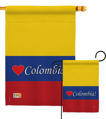 Colombia - Nationality Flags of the World Vertical Impressions Decorative Flags HG108161 Made In USA