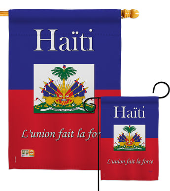 Haiti - Nationality Flags of the World Vertical Impressions Decorative Flags HG108167 Made In USA
