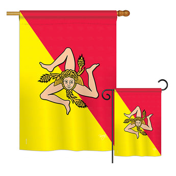 Sicily - Nationality Flags of the World Vertical Impressions Decorative Flags HG108181 Printed In USA
