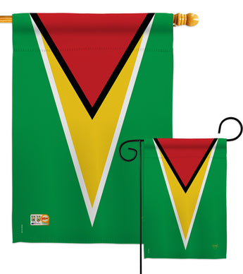 Guyana - Nationality Flags of the World Vertical Impressions Decorative Flags HG108254 Made In USA