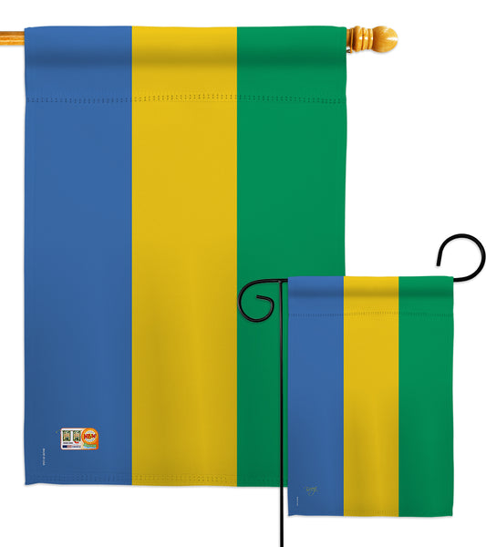 Gabon - Nationality Flags of the World Vertical Impressions Decorative Flags HG108294 Made In USA