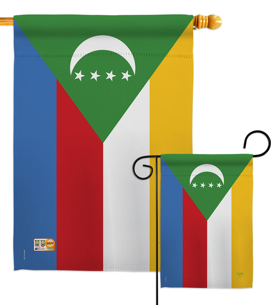 Comoros - Nationality Flags of the World Vertical Impressions Decorative Flags HG108317 Made In USA