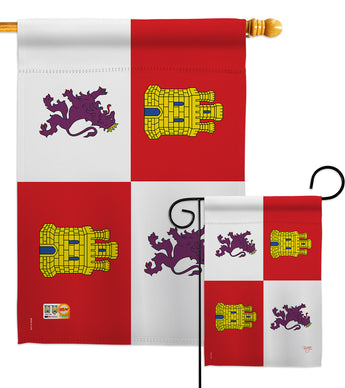 Castile and León - Nationality Flags of the World Vertical Impressions Decorative Flags HG108323 Made In USA