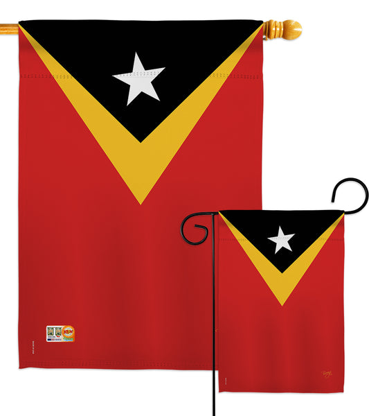 East Timor - Nationality Flags of the World Vertical Impressions Decorative Flags HG108332 Made In USA