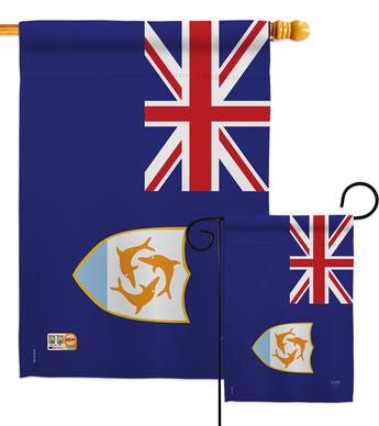 Anguilla - Nationality Flags of the World Vertical Impressions Decorative Flags HG108338 Made In USA