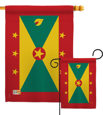 Grenada - Nationality Flags of the World Vertical Impressions Decorative Flags HG108369 Made In USA