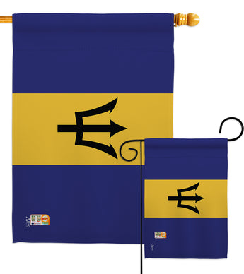 Barbados - Nationality Flags of the World Vertical Impressions Decorative Flags HG140023 Made In USA