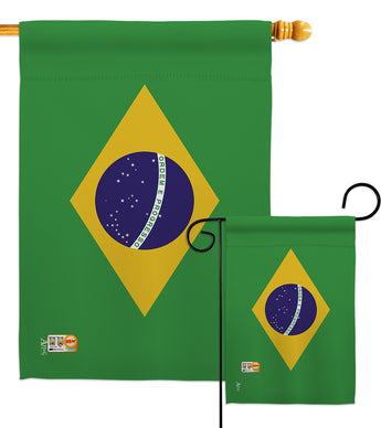 Brazil - Nationality Flags of the World Vertical Impressions Decorative Flags HG140037 Made In USA