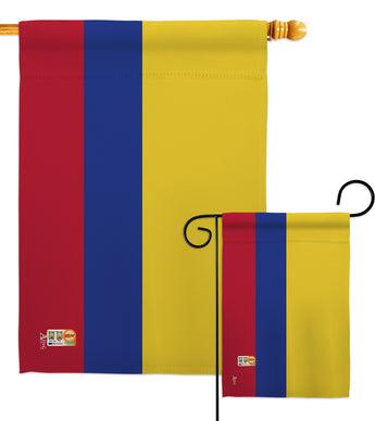 Colombia - Nationality Flags of the World Vertical Impressions Decorative Flags HG140055 Made In USA