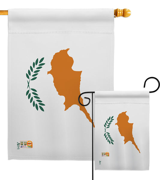 Cyprus - Nationality Flags of the World Vertical Impressions Decorative Flags HG140064 Made In USA
