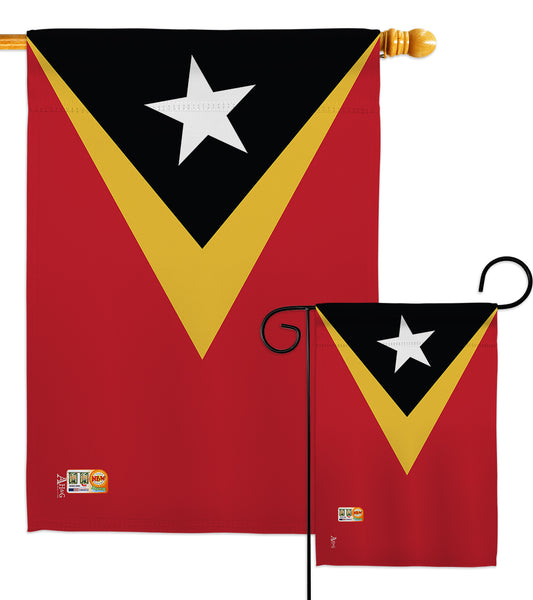 East Timor - Nationality Flags of the World Vertical Impressions Decorative Flags HG140072 Made In USA