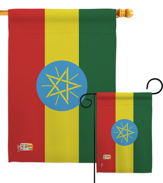 Ethiopia - Nationality Flags of the World Vertical Impressions Decorative Flags HG140080 Made In USA