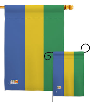 Gabon - Nationality Flags of the World Vertical Impressions Decorative Flags HG140087 Made In USA