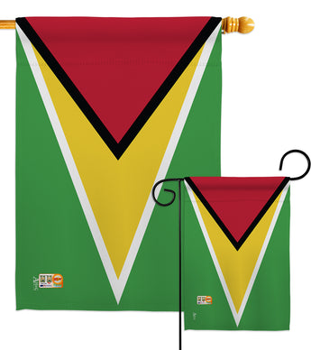 Guyana - Nationality Flags of the World Vertical Impressions Decorative Flags HG140102 Made In USA