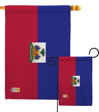 Haiti - Nationality Flags of the World Vertical Impressions Decorative Flags HG140103 Made In USA