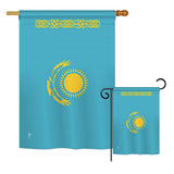 Kazakhstan - Nationality Flags of the World Vertical Impressions Decorative Flags HG140125 Printed In USA