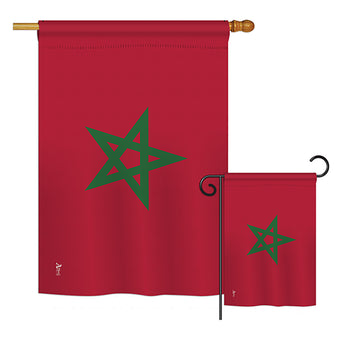 Morocco - Nationality Flags of the World Vertical Impressions Decorative Flags HG140160 Printed In USA