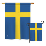 Sweden - Nationality Flags of the World Vertical Impressions Decorative Flags HG140225 Printed In USA