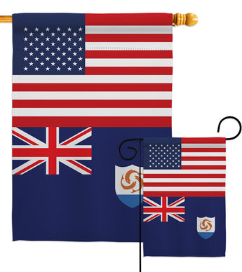 Anguilla US Friendship - Nationality Flags of the World Vertical Impressions Decorative Flags HG140277 Made In USA