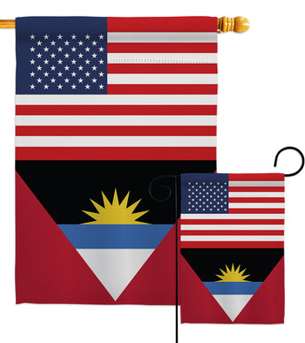 Antigua & Barbuda US Friendship - Nationality Flags of the World Vertical Impressions Decorative Flags HG140278 Made In USA